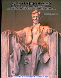 Always bear in mind that your own resolution to Success is more important than any other one thing. ~ Abraham Lincoln
